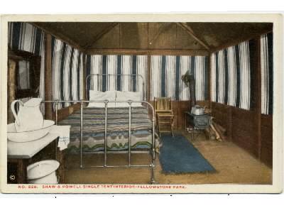 [Interior of single tent cabin. Haynes Postcard view #228] & Geyser Bobu0027s Yellowstone Park History Service - Shaw u0026 Powell Camps